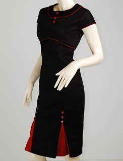 Vtg Retro Kick Pleat Pinup Mad Men 40s 50s Rockabilly Pencil Dress