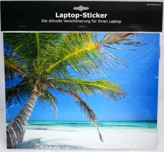 Laptop Netbook Notebook Sticker Aufkleber Motiv Strand mit Palmen