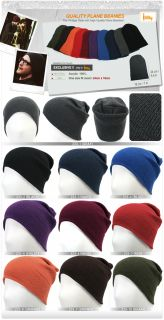 ililily New Unisex Knit Beanie Plain Beanie Hat Unisex Ski Cap Skull
