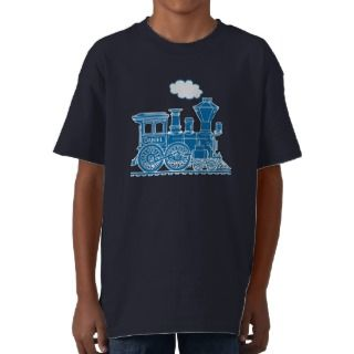 Blue steam locomotive train your name t shirt
