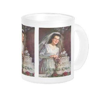 Vintage Newlywed Bride Cutting Her Wedding Cake Coffee Mug