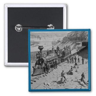 Scenes on the Union Pacific Railroad B&W Buttons