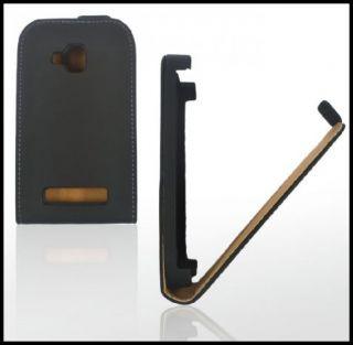Flip Style Handy Tasche Leder Schwarz Für Nokia Lumia 610 Etui Case
