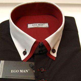 EGO MAN Hemd BODY FIT Langarm weißer Kragen (2012 134 schwarz)
