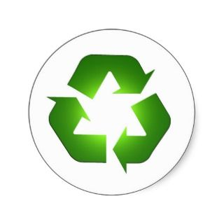 Green recycling icon in 3D Round Stickers