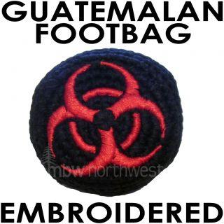 HACKY SACK GUATEMALAN FOOTBAG EMBROIDERED   BIOHAZARD   RED & BLACK
