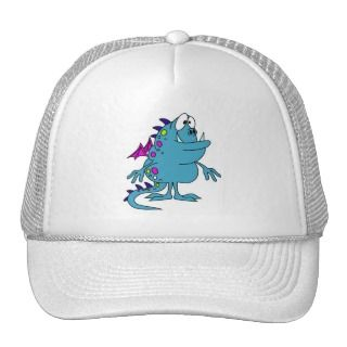 cute blue dragon monster creature mesh hat