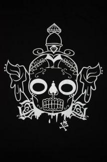 Afends Sugar Skull Diamonds Sloppy Oversized Tee Hip Hop Dance Cotton