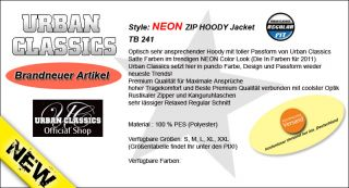 URBAN CLASSICS NEON ZIP HOODIE HOODY JACKE S M L XL XXL