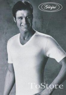 shirt uomo Gicipi Tg 5 L BIANCO collo V stock 3 pz maglia maglietta