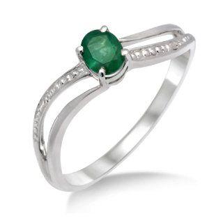 Miore Damen Ring 375 Weißgold mit Smaragd MA938RP Gr. 56