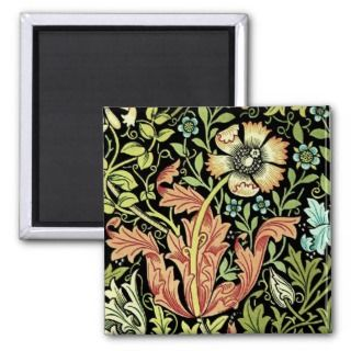 Vintage Floral Wallpaper Fridge Magnet