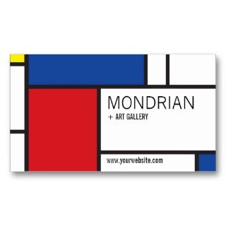 Mondrian Modern Art De Stijl Minimalist Abstract Business Card
