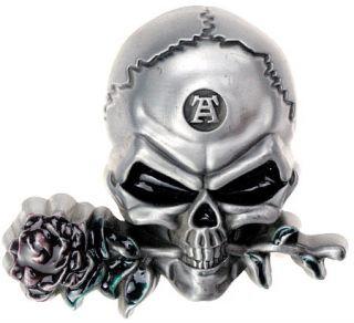 Buckle mit Totenkopf und Rose, Skull & Rose, extreme 3D