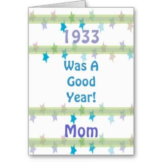 1933 Birthday for Mom, colorful pastel stars Cards