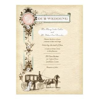 Vintage 1900s Carriage Wedding Invitation L