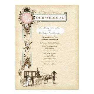 Vintage 1900s Carriage Wedding Invitation L