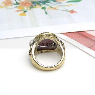Ring Rot Stein Style Ringe Retro Gravur Damen Fingerring NEU 102 0155