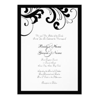 Black and White Swirls Frame Wedding Invitation