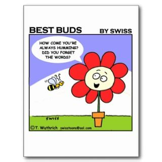 Funny Cute Adorable Flower Gardening Cartoon Postcards
