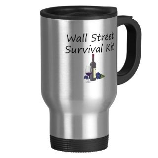 Wall Street Survival Kit Wine Bottle Glass Grapes Coffee Mug