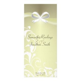 Wedding Program   Classy Ivory Satin Floral Ribbon Personalized Rack