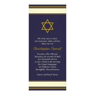 Navy and Gold Bar Mitzvah Invitation