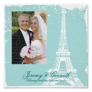 Tiffany Blue Eiffel Tower Wedding Framed Photo Posters