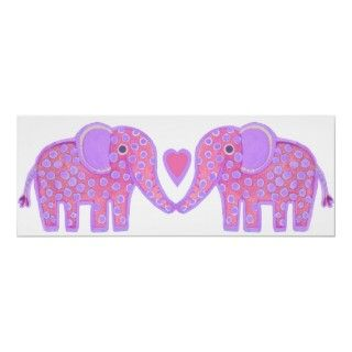 poster cute elephants couple love