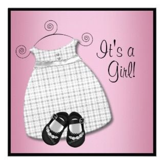 Pink Black Baby Girl Shower Personalized Announcemens