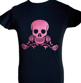 SKULL & ROSES TATTOO   NEW BLACK ADULT T SHIRT with PINK GLITTER SIZE