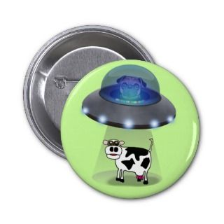 Dog Alien UFO Cattle Abduction Cartoon Pins