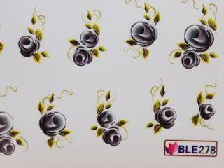 Nail Art One Stroke Sticker BLE 278 mit Blätter