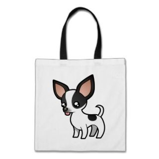 Cartoon Chihuahua (black parti smooth coat) Canvas Bags