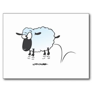 silly cute leaping lamb sheep cartoon postcard