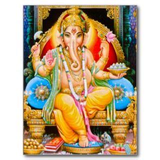 Ganesh Ganesha Ganapati Hindu Elephant Deity Post Card