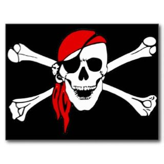 Pirate Skull and Crossbones Postcard