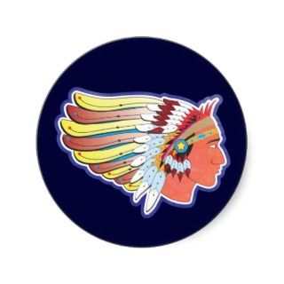 Native American Indian Chief Round Sticker