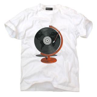 GLOBAL VINYL PLAYER WORLD BeAT DJ 1210 Disko Mens T Shirt (M, white