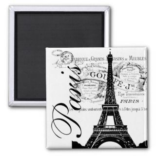 Vintage Paris & Eiffel Tower Label Magnet