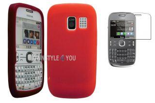 Case Tasche Schale Cover für Nokia Asha 302 + Folie TPU Rot