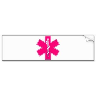 Pink Baby Hot Nurse EMS Star of Life Bumper Stickers