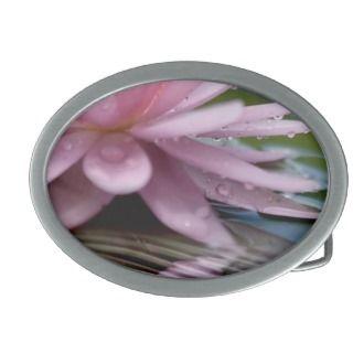 Elegant Lotus Flower Oval Belt Buckles