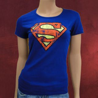 Damen Marken Girlie Shirt Superman Logo, Retro Print