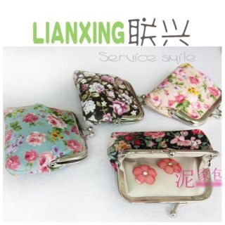Lovely Mini Small Floral Bag Ladies Metal Frame Coins Clutch Purse