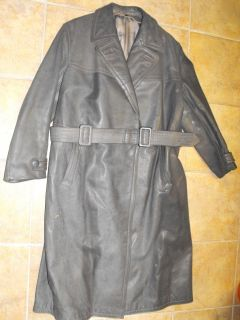 Alter Wehrmacht Herren Ledermantel Uniform Mantel Leder Grau WK2 WW2