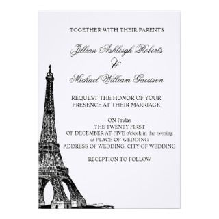 Vintage Eiffel Tower Wedding Invitations