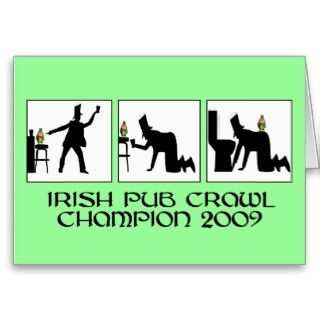 Funny Irish pub crawl Greeting Card