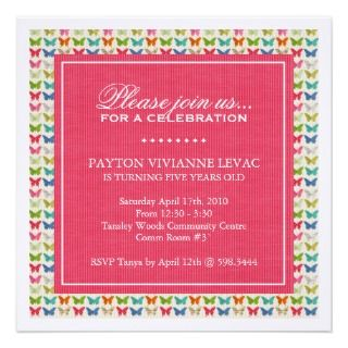 Whimsical Butterflies Birthday Party Invitation