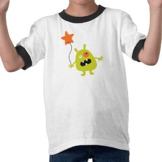 Fun scary monster with balloon boys t shirt